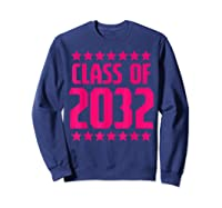 Class Of 2032 Stars Grow With Me First Day Kindergarten Gift T-shirt Sweatshirt Navy