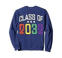 Class Of 2032 Color Stars Grow With Me Kindergarten Gift Shirts Sweatshirt Navy