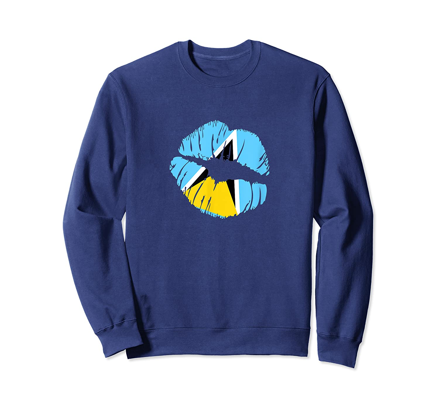 Saint Lucia Independence Day Flag Lips T Shirt Crewneck Sweater