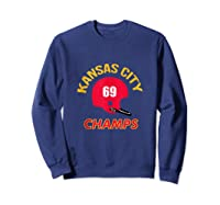 Retro Kansas City Football Helmet Vintage Kc 69 Champs Shirts Sweatshirt Navy