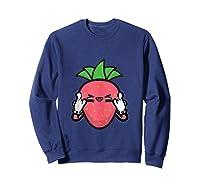 Strawberry Rock Roll Rocker Gift Sign Of Horns Shirts Sweatshirt Navy