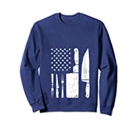 Chef Cooking American Flag Vintage Culinary Chefs Gifts T Shirt Sweatshirt Navy