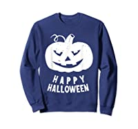 Funny Happy Halloween Costumes Scary Spooky Pumpkin Costume Shirts Sweatshirt Navy