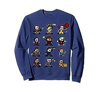 Friends Pixel Halloween Icons Scary Horror Movies T Shirt Sweatshirt Navy