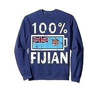 Fiji Flag T Shirt 100 Fijian Battery Power Tee Sweatshirt Navy