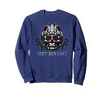 New England Football Helmet Sugar Skull Day Of The Dead Shirts Sweatshirt Navy