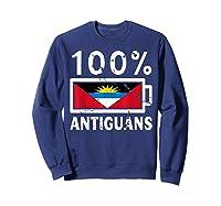 Antigua Barbuda Flag Shirt 100 Antiguans Battery Power Sweatshirt Navy