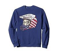 Usa Flag American Skull Helmet Patriotic Motorcyclist T Shirt Sweatshirt Navy