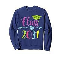 Class Of 2031 Grow With Me Kindergarten Graduate Gift T-shirt Sweatshirt Navy