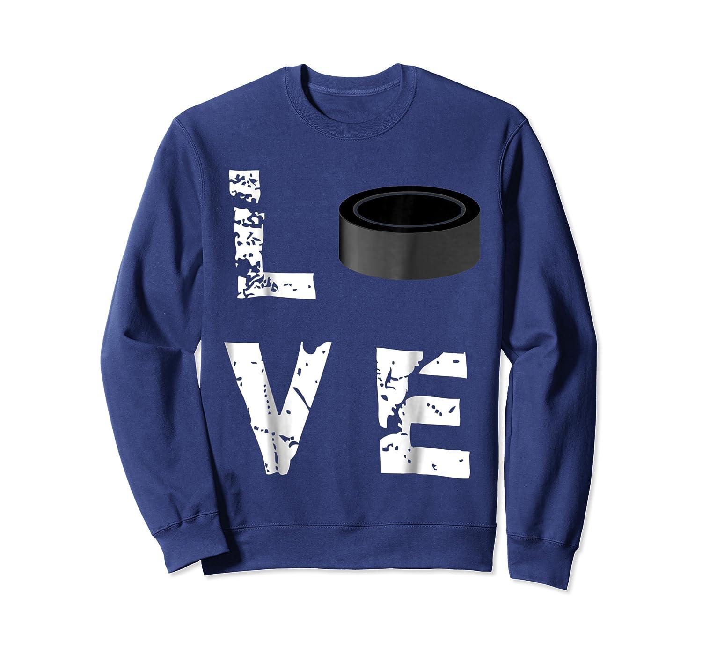 Love Hockey Puck Funny Sports Valentine S Day T Shirt Crewneck Sweater