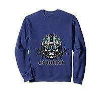 Carolina Football Helmet Sugar Skull Day Of The Dead T Shirt Sweatshirt Navy