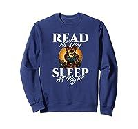 Sleep All Day Read All Night Bookish Read A Book Day Owl Premium T Shirt Sweatshirt Navy