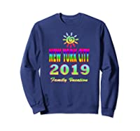 New York City Family Vacation 2019 Spiral Sun Rainbow T Shirt Sweatshirt Navy