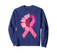Sunflower Breast Cancer Awareness Month Gift T Shirt Sweatshirt Navy