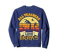 Tea Shirts Funny Halloween Gift All Teas Love Brains T-shirt Sweatshirt Navy