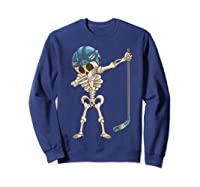 Dabbing Skeleton Hockey Halloween Gift Shirts Sweatshirt Navy
