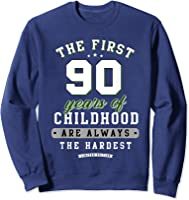 90th Birthday Funny Gift Life Begins At Age 90 Years Old T-shirt Sweatshirt Navy