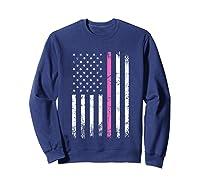 Stars Stripes Thin Pink Line Breast Cancer Awareness Month T Shirt Sweatshirt Navy