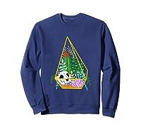 Pastel Goth Geometric Terrarium Skull, Crystals & Succulents Shirts Sweatshirt Navy