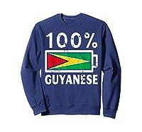 Guyana Flag T Shirt 100 Guyanese Battery Power Tee Sweatshirt Navy