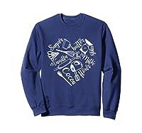 Baking Ingredients And Utensils Heart T Shirt Sweatshirt Navy