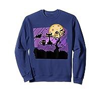 Dark Spooky Night Black Cat With Bats Halloween Shirts Sweatshirt Navy