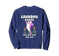 Grandma Shark Doo Doo Shirt Gift For Matching Family T-shirt Sweatshirt Navy