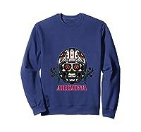 Arizona Football Helmet Sugar Skull Day Of The Dead T Shirt Sweatshirt Navy