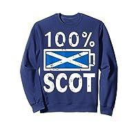 Scotland Flag T Shirt 100 Scot Battery Power Tee Sweatshirt Navy