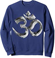 Om Yoga Chrom Zeichen   Buddha Vishnu Liebe Schwarz Weiß T-shirt Sweatshirt Navy