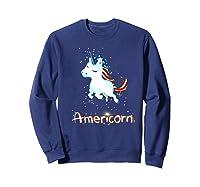 Americorn 4th Of July Patriot Usa Unicorn Lovers Funny Gift Premium T-shirt Sweatshirt Navy