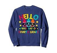 Hello First Day Of Fourth Grade Cute Crayon Student Tea Shirts Sweatshirt Navy