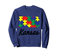 Autism Awareness Day Kansas Puzzle Pieces Gift Shirts Sweatshirt Navy