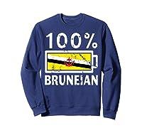 Brunei Flag T Shirt 100 Bruneian Battery Power Tee Sweatshirt Navy