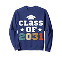 Vintage First Grade 2019 Class Of 2031 Apparel Grow With Me Shirts Sweatshirt Navy