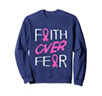 Faith Over R Breast Cancer Awareness Month Pink Ribbon Tank Top Shirts Sweatshirt Navy