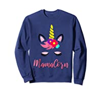Mamacorn T Shirt Cute Funny Unicorn Gift For Mothers Day Mom Sweatshirt Navy