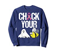 Check Your Boo Bees Shirt Funny Breast Cancer Halloween Gift Sweatshirt Navy
