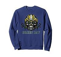 Green Bay Football Helmet Sugar Skull Day Of The Dead Premium T-shirt Sweatshirt Navy