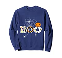 Halloween Boo Breast Cancer Awareness Pumpkin Month T Shirt Sweatshirt Navy