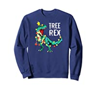 Christmas Tree Rex Shirts Dinosaur T-rex Raglan Baseball Tee Sweatshirt Navy