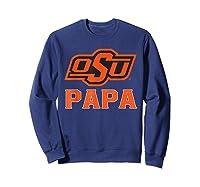 Oklahoma State Cow My Favorite Name - Papa T-shirt Sweatshirt Navy