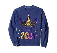 Unicorn Face Class Of 2034 First Day Kindergarten Girls Gift T-shirt Sweatshirt Navy