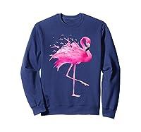Funny Flamingo Breast Cancer Awareness October Ribbon Pink T Shirt Sweatshirt Navy