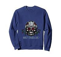 New England Football Helmet Sugar Skull Day Of The Dead T Shirt Sweatshirt Navy