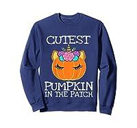 Cutest Pumpkin In The Patch Unicorn Halloween Girls Gift Shirts Sweatshirt Navy