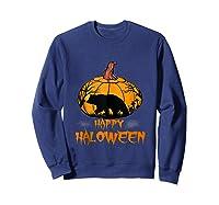 Bear Pumpkin Happy Halloween Costume Shirts Sweatshirt Navy