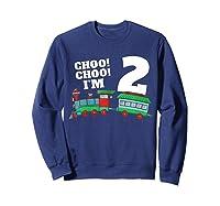 I'm Two Train 2nd Birthday Boy 2 Train Gift Shirts Sweatshirt Navy
