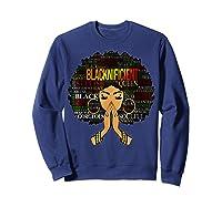 Blacknificient Words Art Afro Natural Hair Black Queen Gift Shirts Sweatshirt Navy