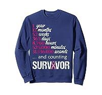 One 1 Year Survivor Breast Cancer Shirt Awareness Gift 2018 Sweatshirt Navy